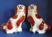 Superb Pair 19th Century Russet Staffordshire Pottery Spaniels c1890 (Sold)